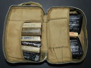 Original Military U s WW2 Aircraft First Aid Kit w Components Medical Survival