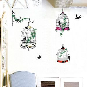 Bird Cage Art Deco Mural Wall Paper Sticker Decals 075