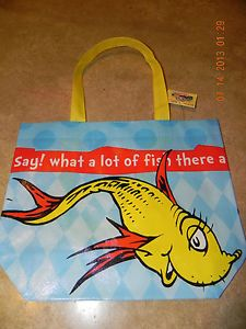 Dr Seuss One Fish Two Fish Cat in The Hat Reusable Tote Loot Bag Party Supplies