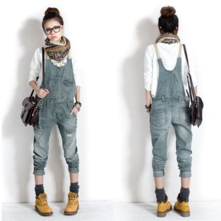Womens Girls Washed Casual Hole Jumpsuit Romper Overall Jeans Denim Pants