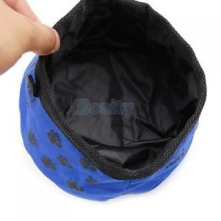 Blue Folding Travel Pet Dog Cat Puppy Food Dish Water Bowl Feeder