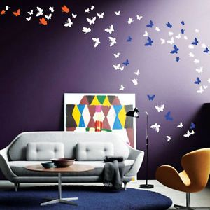42 Butterfly Art Wall Stickers 21 Colours Choice 3 Sizes 2 Different Shape Decal