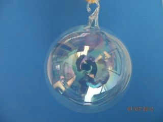 "2 5"" Med Clear Glass Kugel Ball German Blown Glass Christmas Tree Ornament"