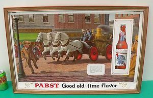 P 604 Pabst Blue Ribbon Horse Drawn Fire Engine Good Old Time Flavor Beer Sign