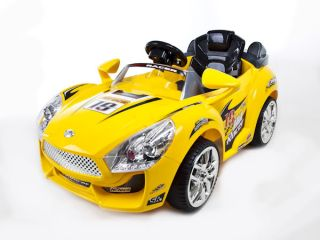 Yellow Hot Racer Kids Electric Power Ride on Car  RC Remote Sport Wheels