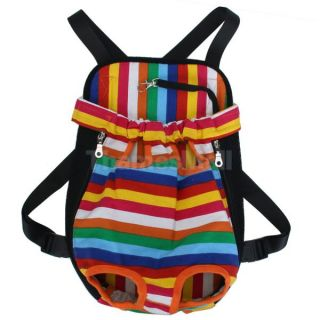 Pet Dog Colorful Striped Front Back Carrier Mesh Backpack Bag Legs Out Size L