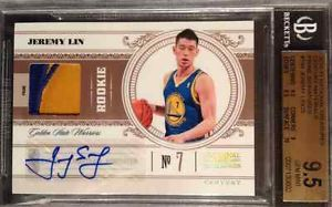 Gem Mint Jeremy Lin National Treasures Rookie Patch Auto 25 RPA BGS 9 5