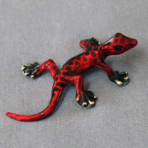 Gorgeous Lizard Bronze Figurine Statue Sculpture Art Reptile Signed by Artist