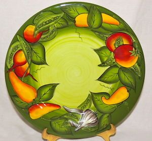 Laurie Gates Gates Wear Peas in A Pod Green Dinner Plate 11 7 8 inches Mint