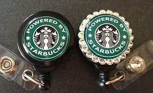Powered by Starbucks ID Badge Holder with Retractable Reel Name Badge Holder