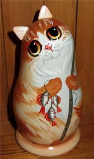 Russian Small Doll Ginger Cat Mouse Hand Painted Christmas Gift Unique BABUSHKA2