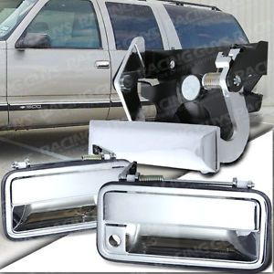 92 99 Chevy Silverado GMC Yukon 2 Door Out Side Handle Chrome Tail Gate Set 93