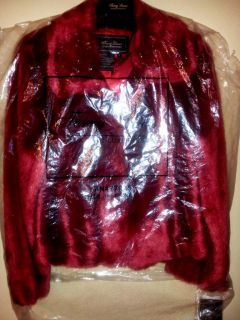Womens New Faux Fur Jacket Coat Color Red by Terry Lewis Size Medium Fits 10 12