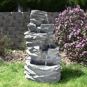 Outdoor 5 Tier Rock Garden Patio Backyard Wall Water Fountain with LED Lights