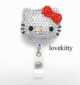 3D Blinged Out Hello Kitty Rhinestone Badge Reel Name Badges ID Badge Holder