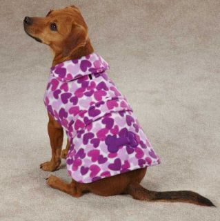 Dog Heart Fleece Coat Jacket XXS XXL Pet Barn Coats Jackets Pink Purple