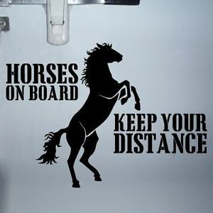 Large Horse Trailer Sign Caution Tailgaiting Decal Sticker Black White Pink