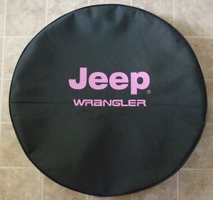 "Jeep® Wrangler Pink Logo Tire Cover 30 31"" Heavy Black Denim Vinyl with Lining"