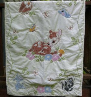 Vintage Bambi Thumper Disney Cross Stitched Baby Quilt Blanket Crib Nursery