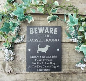 Humorous Beware of The Basset Hound Dog Slate Door Gate Plaque Sign