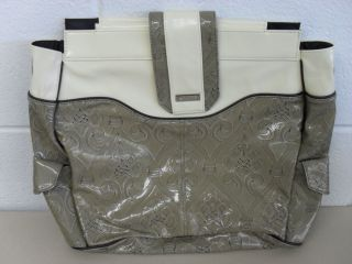 Used Prima Miche Big Bag Shell Liner Cream Taupe Embossed Retired