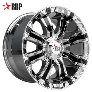 "18"" RBP 94R 18 inch Chrome Truck Offroad Rims Wheels Nitto Tires"