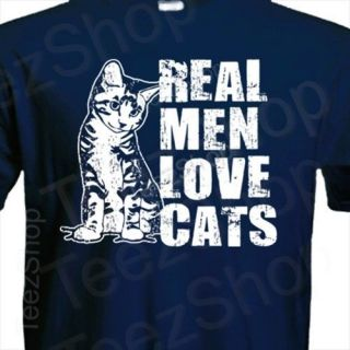 Real Men Love Cats Funny Pet Lover Animal Catz Kitten Gift T Shirt Navy XL