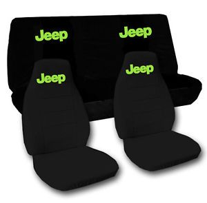 Car Seat Covers Front Rear Black w Green Jeep for 2012JEEP Wrangler Sport 2dr