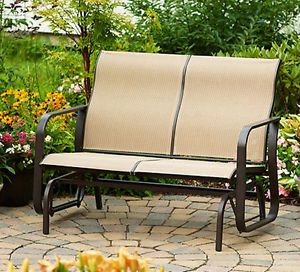 Brown Outdoor Porch Backyard Patio Deck Glider Swing Lawn Bench Rocker Chair New