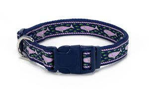 "Douglas Paquette Nylon Dog Collars Leads Harnesses ""Whales Pink"" Design"