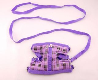 No 2 Small Dog Cat Rabbit Puppy Pet Purple Matching Soft Harness Leash Lead Set