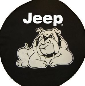 Sparecover® Brawny Series Jeep 32 Bulldog on Black Denim Tire Cover