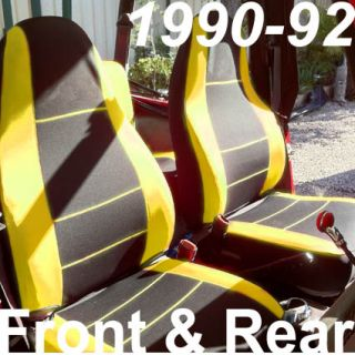 Jeep Wrangler 1990 92 Neoprene Front Rear Full Set Car Seat Cover Yellow YJ12792