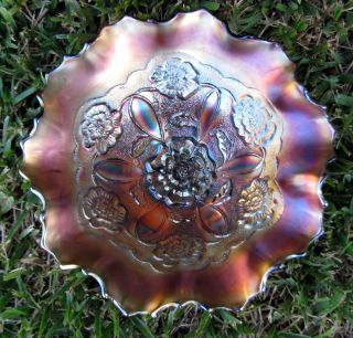 Dugan Double Stem Rose Amethyst Carnival Glass Ruffled Dome Base Bowl CA 1915