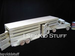 "Handmade Natural Amish Wooden Wood Toy Pickup Truck Horse Trailer Toy 33"" Cool"