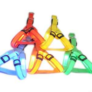 3 Mode Safety Dog Pet Belt Harness Leash Tether Glow LED Flashing Light 5 Color