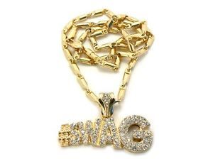 "Hot Bling Bling Iced Out Hip Hop Pendant Swag Necklace w 24"" Bullet Chain"