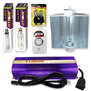 Apollo 400W 600W 1000W Watt MH HPS Grow Light Air Cool Tube Hood Reflector Set