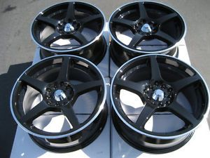 16 5x100 5x114 3 Black Effect Wheels Civic Accord Eclipse Jetta Lexus 5 Lug Rims
