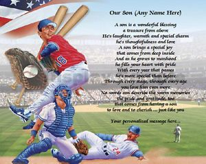 Son Gift Personalized Poem for Son Birthday or Christmas Gift Baseball Print