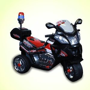 New 6V Battery Powered Kids Ride on Toy Police Motorcycle Chopper Car 3 Wheel