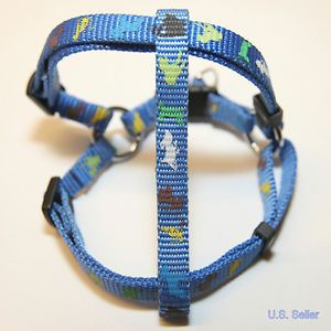"New Pet Dog Cat Blue Adjustable Harness Leash Combo with Buckle Prints 46"" L"