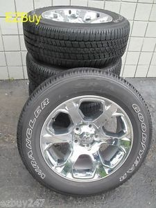 "20"" Dodge RAM 1500 2013 14 Factory Chrome Clad Wheels with Goodyear Tires 2454"
