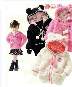 Age 1 3 5 Cute Baby Kids Children Hoods Jacket w Hoods Lace Fur Polka Dot