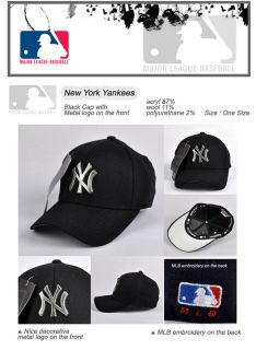 New York Yankees Baseball Cap Metal Logo Hat Black N73