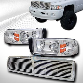 Chrome Crystal Head Lights Lamp Signal Front Hood Grill Grille ABS 1994 2002 RAM