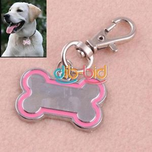 Cute Stainless Steel Metal Bone Shaped Pet Dog Cat ID Tag Medium Name Tags