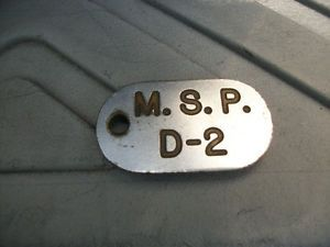 Vintage Antique Maryland State Police License Plate Key Ring ID Tag