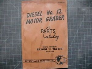 Cat Caterpillar 12 Motor Grader Parts Manual Book 9K