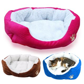 Warm Indoor Soft Fleece Puppy Pets Dog Cat Bed House Basket with Mat Cushion